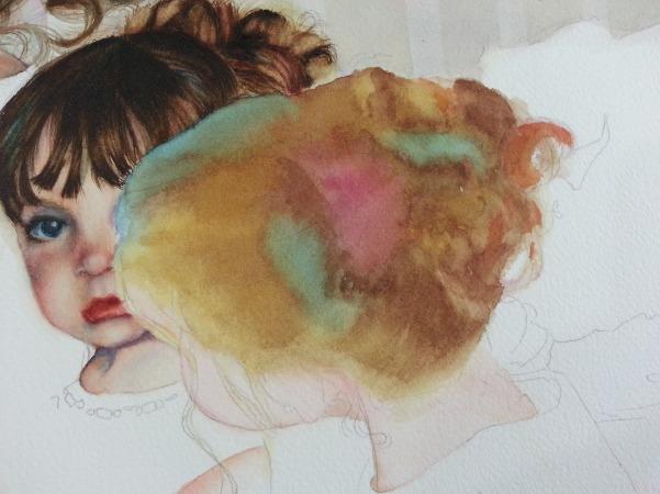Hair painting on dark hair